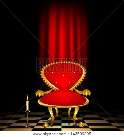 dark retro room with drape and red armchair with burning candle