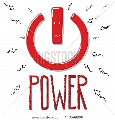 Red power symbol with arrows moving to it