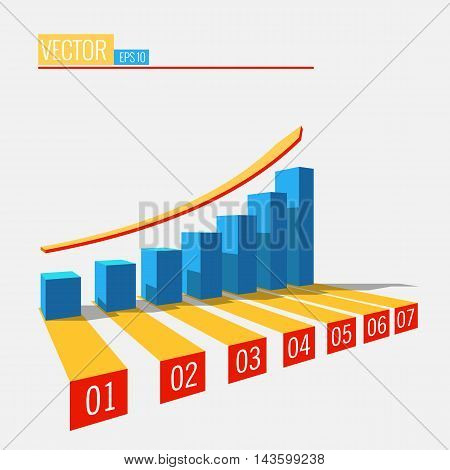Blue growth chart with arrow: Info graphic