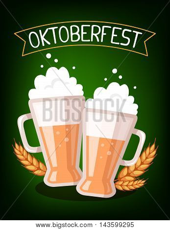 Vector Colorful Illustration Of Two Big Mugs Of Yellow Beer With Ears Wheat, Ribbon And Text On Dark