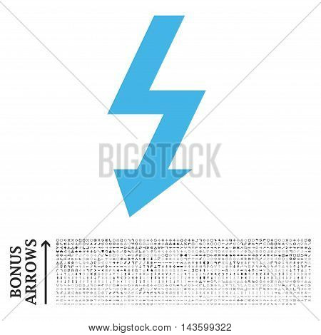 High Voltage icon with 1200 bonus arrow and direction pictograms. Vector illustration style is flat iconic bicolor symbols, blue and gray colors, white background.