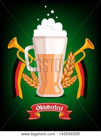 Vector Colorful Illustration Of Big Mug Of Yellow Beer With Ears Wheat, Trumpets, Ribbon German Flag