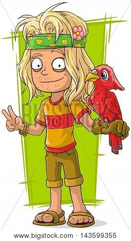 A vector illustration of cartoon hippie man with red bird
