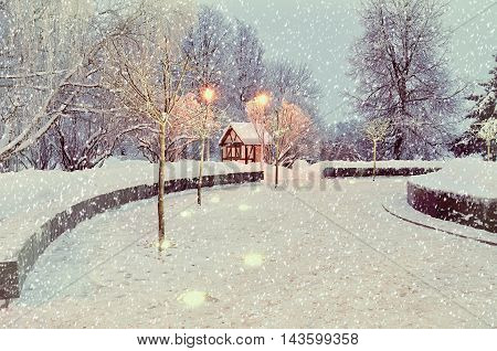 Winter landscape with snowflakes. Winter view with falling snow. Winter night landscape - small house among the illuminated frosty winter trees. Winter snowy night in the city.