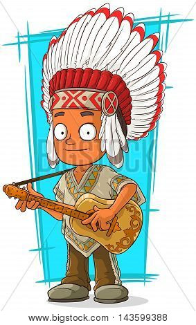 A vector illustration of cartoon Indian chief with guitar
