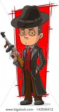 A vector illustration of cartoon mafiosi in black with gun