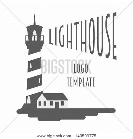 Logo, Sign Or Label Design Template With Lighthouse. Black And White Vector Illustration