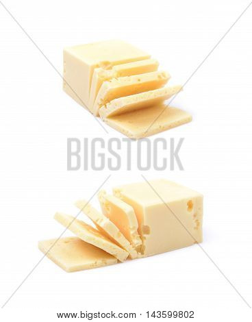 Sliced piece of cheese isolated over the white background, set of two different foreshortenings