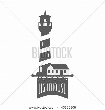 Vector Logo, Label Or Badge Design Template With Lighthouse. Black And White Illustration