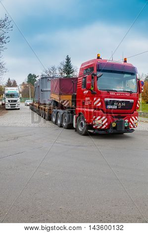 CZECH REPUBLIC, PRESTICE, 11 NOVEMBER, 2014:Transport of heavy, oversized loads and construction machinery