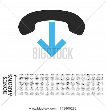 Phone Hang Up icon with 1200 bonus arrow and navigation pictograms. Vector illustration style is flat iconic bicolor symbols, blue and gray colors, white background.