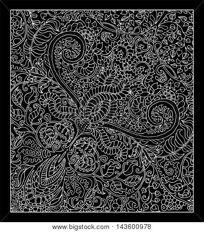 Decorative graphic background with floral pattern. Vector vintage ornament. Abstract hand drawn doodle illustration