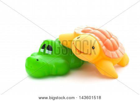 Bath Toys Crocodile And Turtle On White Background