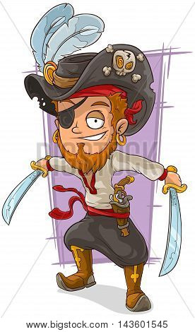 A vector illustration of cartoon pirate with swords and eye patch