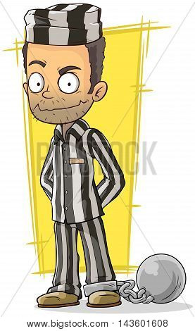 A vector illustration of cartoon prisoner in black and white robe