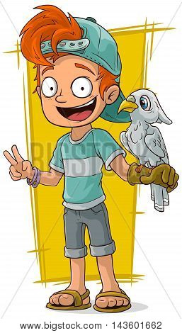 A vector illustration of cartoon redhead boy with cute parrot