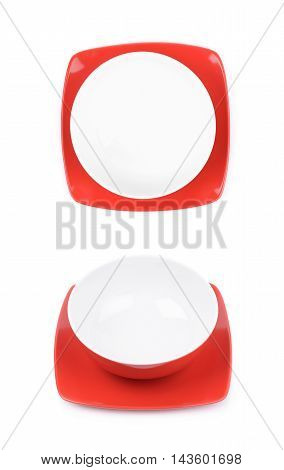 Red and white empty ceramic bowl over a square plate, composition isolated over the white background, set of two different foreshortenings
