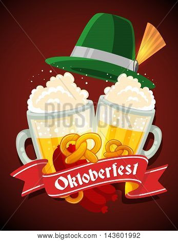 Vector Colorful Illustration Of Two Big Mugs Of Yellow Beer With Green Hat, Sausage, Pretzel, Red Ri