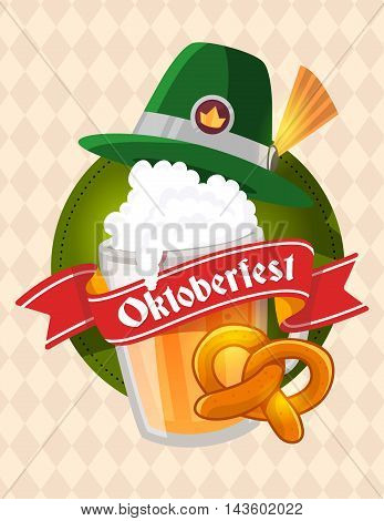 Vector Colorful Illustration Of Big Mug Of Yellow Beer With Green Hat, Pretzel, Red Ribbon And Text