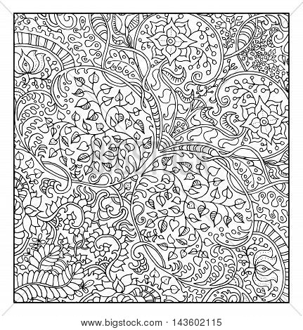 Fantastic graphic background with floral pattern for adult coloring book.  Vector vintage ornament elements. Abstract hand drawn doodle illustration