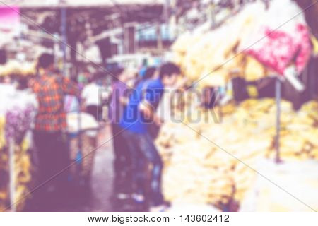 Blurred Background : People Shopping At Flower Market Fair, Blur Background With Bokeh