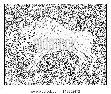 Hand drawn ox against zen floral pattern background for adult coloring book. Chinese new year astrological sign, horoscope and zodiac vector symbol, graphic linear illustration, vintage engraved style