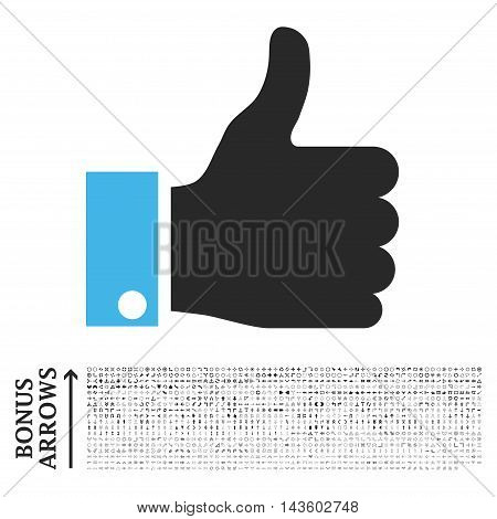 Thumb Up icon with 1200 bonus arrow and navigation pictograms. Vector illustration style is flat iconic bicolor symbols, blue and gray colors, white background.