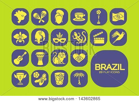 Flat icons Brazil 5. EPS 10 Isolated objects