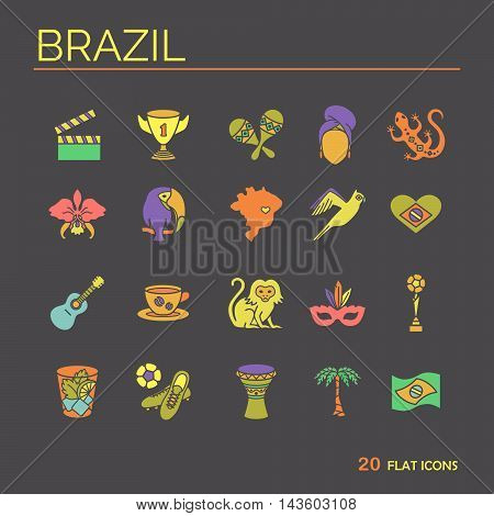 Flat icons Brazil 7. EPS 10 Isolated objects