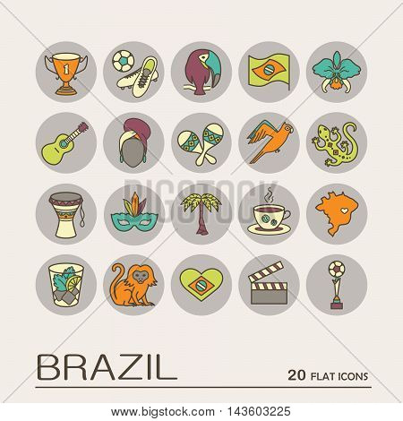 Flat icons Brazil 9. EPS 10 Isolated objects