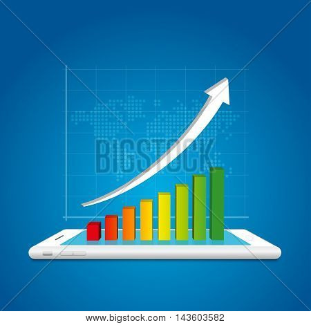 Success In Business Concept. Business Graph On Smartphone And World Map Background.