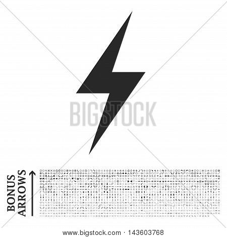 Electricity icon with 1200 bonus arrow and direction pictograms. Vector illustration style is flat iconic symbols, gray color, white background.