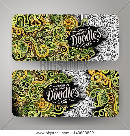 Cartoon cute colorful vector hand drawn doodles curls, swirls corporate identity. 2 horizontal banners design. Templates set