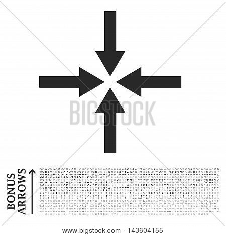 Impact Arrows icon with 1200 bonus arrow and navigation pictograms. Vector illustration style is flat iconic symbols, gray color, white background.