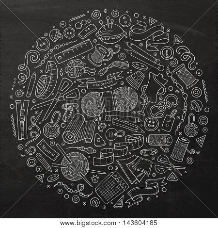 Chalkboard vector hand drawn set of Hand Made cartoon doodle objects, symbols and items. Round composition