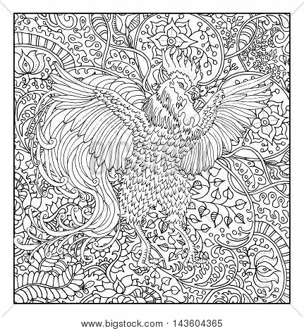Hand drawn rooster against zen floral pattern background for adult coloring book. Chinese new year astrological sign, horoscope and zodiac vector symbol, graphic illustration, vintage engraved style