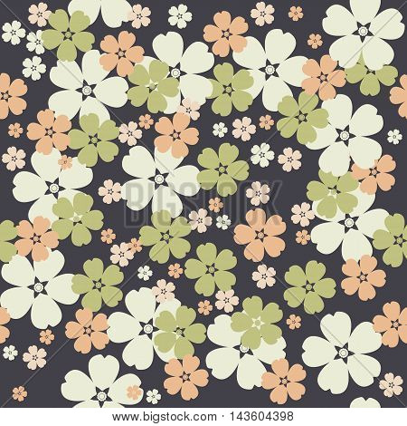 Cute seamless pattern with tender flowers on purple background can be used for linen, tile, design fabric and more creative designs.