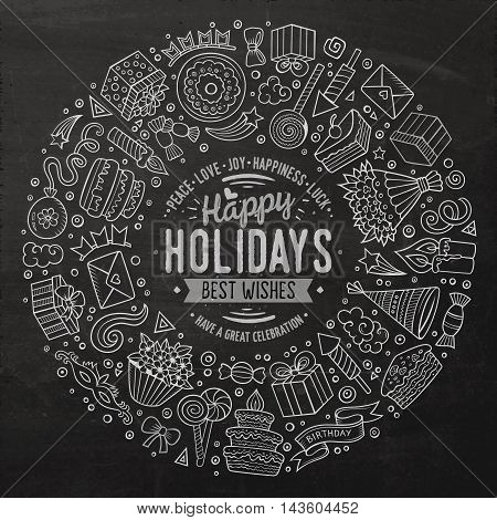 Line art chalkboard vector hand drawn set of Holidays cartoon doodle objects, symbols and items. Round frame composition