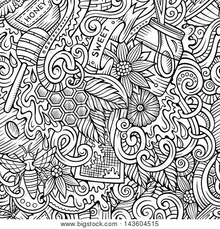 Cartoon cute doodles hand drawn Honey seamless pattern. Line art detailed, with lots of objects background. Endless sketchy funny vector illustration.
