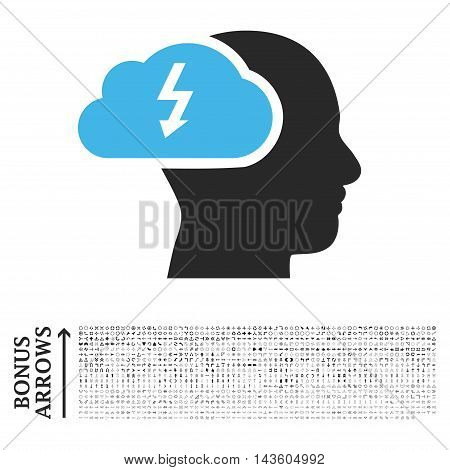 Brainstorming icon with 1200 bonus arrow and navigation pictograms. Glyph illustration style is flat iconic bicolor symbols, blue and gray colors, white background.