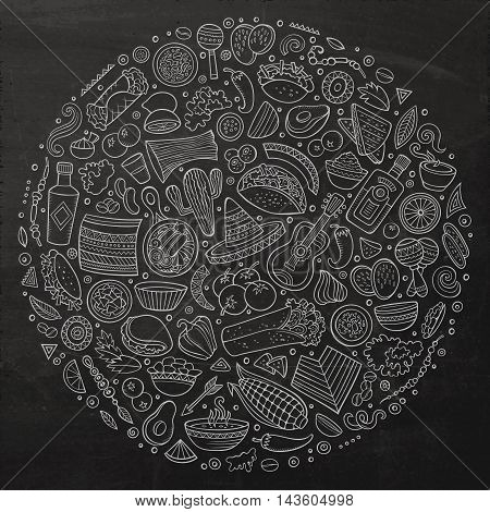 Line art chalkboard vector hand drawn set of Mexican food cartoon doodle objects, symbols and items. Round composition