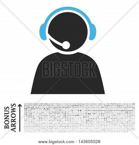 Call Center Operator icon with 1200 bonus arrow and navigation pictograms. Glyph illustration style is flat iconic bicolor symbols, blue and gray colors, white background.