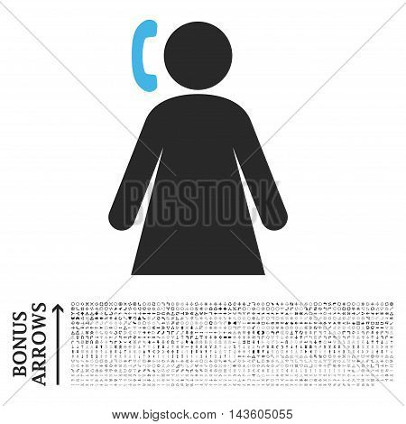 Calling Woman icon with 1200 bonus arrow and direction pictograms. Glyph illustration style is flat iconic bicolor symbols, blue and gray colors, white background.