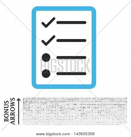 Checklist Page icon with 1200 bonus arrow and direction pictograms. Glyph illustration style is flat iconic bicolor symbols, blue and gray colors, white background.