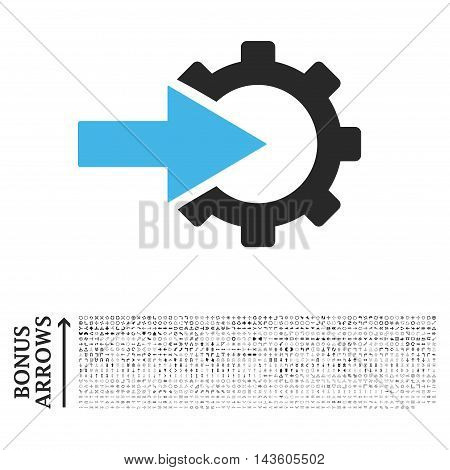 Cog Integration icon with 1200 bonus arrow and direction pictograms. Glyph illustration style is flat iconic bicolor symbols, blue and gray colors, white background.