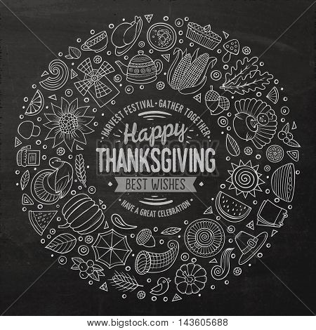 Chalkboard vector hand drawn set of Thanksgiving cartoon doodle objects, symbols and items. Round frame composition