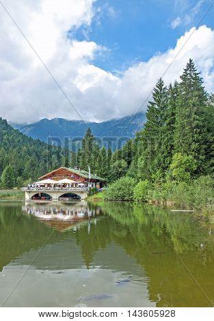 at Lake Pflegersee near Garmisch-Partenkirchen in upper Bavaria,bavarian Alps,Germany