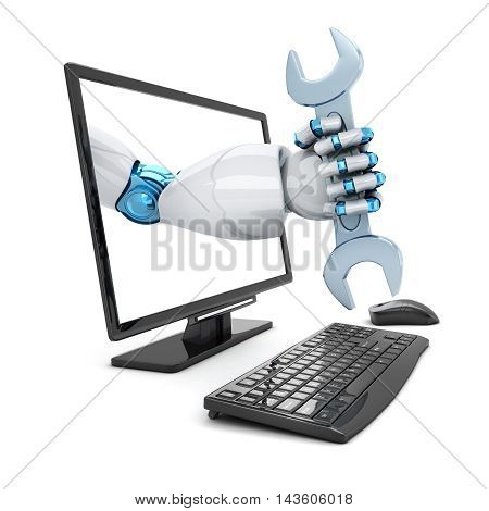Hand robot and key. Symbol repair computer (done in 3d rendering)