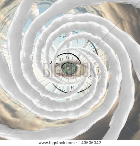 God's Eye, time spiral and vortex of clouds 3D Render