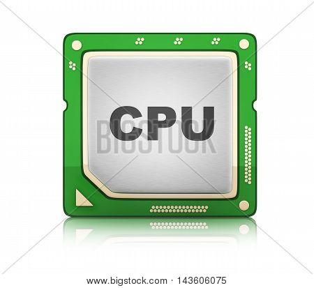 CPU Central processor unit on white background (done in 3d rendering)